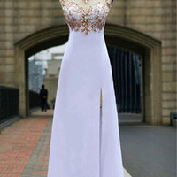 White Chiffon Prom Dresses,Open Back Long Evening Dress With Beadings