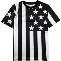 Black and White Striped Pentagram 3D Emoji Print Short Sleeve Graphic T-Shirt