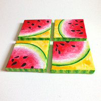 """Original Painting, FOUR SQUARE WATERMELONS, Four 5""""x5"""" acrylic on canvas, Decor for Kitchen & Nursery"""