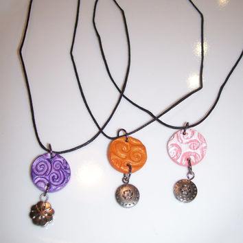 Teen/Children Oil Diffuser Necklaces Petite Clay Pendant in Purple, Orange, Pink Handcrafted Aromatherapy Jewelry for Essential Oils
