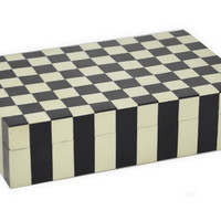 "12"" Checkered Wood Box, Black/White, Boxes"