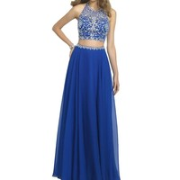 Vivebridal Women's Two Pieces Chiffon with Stones Halter Prom Party Dress Royal 2