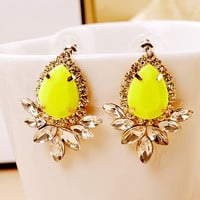 Neon Yellow Rhinestone Earrings