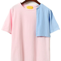 Pink Contrast Asymmetric Shoulder Patch T-Shirt