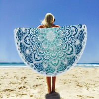 Indian Vintage Ombre Round Tapestry Wall Hanging, Decor Beach Throw, Circle Mandala Roundie Towel Yoga Mat