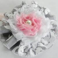 New Baby Toddler Adult Teen Headband Pink White Gray Demask Chiffon Flower Accessory Choose Your Size