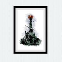 Lord of the Rings poster Eye of Sauron watercolor print The dark tower illustration Home decoration Wall hanging decor LOTR wall art  W351