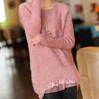 Vintage Soft Fuzzy Light Wool Pullover with Lace