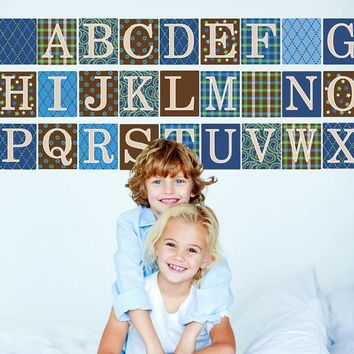 Alphabet Blocks in Blue, Green and Brown Wall Decals, Eco-Friendly Removable Wall Stickers