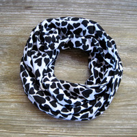 Childs Heart Scarf Kids Valentine Scarf Toddler Scarf Cute Black Hearts Childs Infinity Scarf Ready to Ship