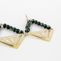 Raw Brass Triangle Pendant Earrings - Natural Seraphinite - Forest Green