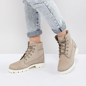 Timberland 6 Inch Light Heritage Cashmere Flat Boots at asos.com