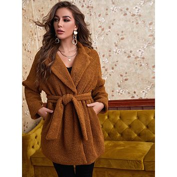 Lapel Collar Self Tie Teddy Coat