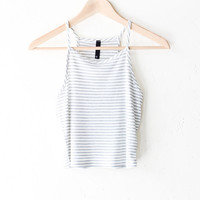 Striped Knit Cami Crop Top - Grey