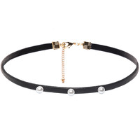 Pearl Vegan Leather Black Choker