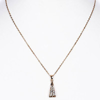 NECKLACE / CRYSTAL STONE PAVED / LINK / METAL / 1 INCH DROP / 16 INCH LONG / NICKEL AND LEAD COMPLIANT