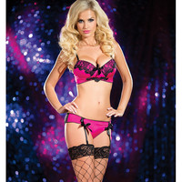 Molded Cup Bra W-black Lace Overlay, Lace Back Panty W-garters Black-pink Lg