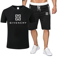 GIVENCHY Summer Fashionable Casual Print T-Shirt Top Shorts Set Two-Piece Sportswear Black