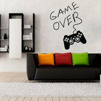 Wall Decal Vinyl Sticker Decals Art Decor Design Gamer Player Gaming Time xbox Game Over Game Controller Kid Children Nursery Bedroom(r1236)