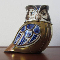 TONALA - Folk Art white ceramic Owl hand painted in cobalt blue and brown with a brass and cooper bodice - Made in Mexico - 1970s