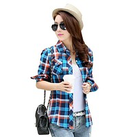 Brand New 2017 Fashion Women Blouses Long Sleeve Turn-down Collar Plaid Shirts Women Cotton Plus Size Casual Shirt Style Blusas