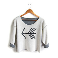 Tribal Arrow - Inside Out French Terry Hand Stenciled Deep Scoop Neck Cropped Sweatshirt in Black and Grey - Free Size