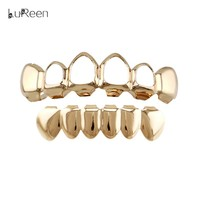 LuReen  Silver  Teeth  Grills  Hollow  Hiphop  Tooth