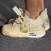 "Off-White x Air Jordan 4 SP ""Sail"" platform sneakers shoes"