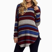 Blue-Burgundy-Striped-Maternity-Knit-Top