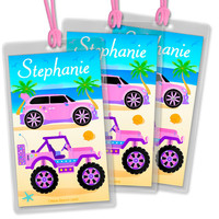 Set of 3 Kid's Personalized Luggage Tags  Backpack & Lunch Bag Name Tags Girls Cute Cruisers Cars