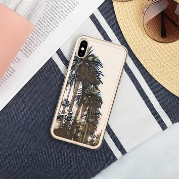 """Palm Trees"" Liquid Glitter Phone Case Travel Themed Gift"