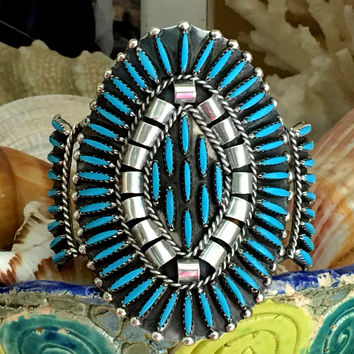 Zuni Turquoise Needlepoint Bracelet Sterling Silver