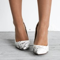 SZ 5.5 Just In Time White Marble Heels