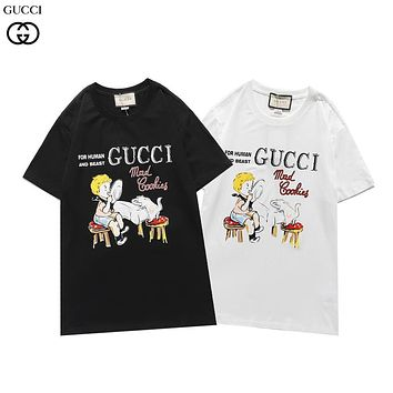 Gucci autumn and winter new short-sleeved children kitten licking plate pattern fashion men's and women's T-shirts