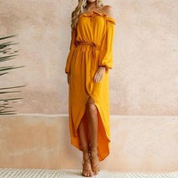 Autumn Long Sleeve Slash Neck Off Shoulder Maxi Long Dresses
