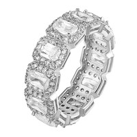 Radiant Cut Eternity Ring Womens Engagement Bridal Ladies Band Solitaire Classy