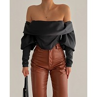 fhotwinter19 new sexy fashion strapless one-word collar fold pile sleeves long sleeve short crop top