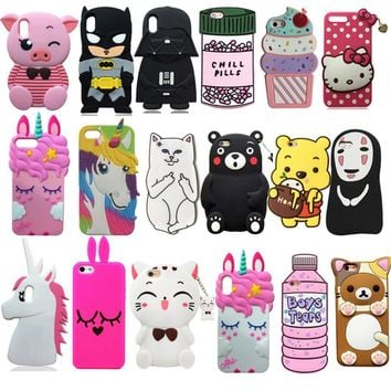Batman Dark Knight gift Christmas 3D Cartoon Cute Minnie Coffee Cup Batman Stitch Soft Silicone Back Cover For iPhone 5 5s SE 6 6s 7 8 Plus X Xs Phone Cases Coque AT_71_6