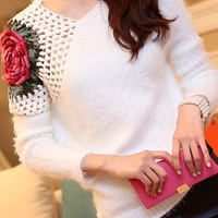 White Crochet Rose Pattern Sweater