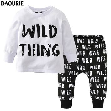 DAQURJE Autumn Newborn Baby Boy Clothes Long Sleeved T-shirt + pants Wild Tiiing Kids Children infant toddler clothing sets