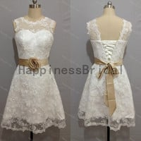 lace formal dress,short prom dress ,lace prom dress with sash,short evening dress,hot sales dress,formal evening dress,new arrival dresses