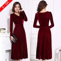 Plus Size XXXL 4XL 5XL Women Winter Dress V-Neck Long Maxi Velvet Dresses Elegant Ladies Formal Party Red Dresses black,red,blue