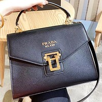 Prada New fashion leather shoulder bag handbag crossbody bag Black