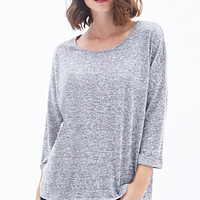 LOVE 21 Heathered Knit Top Navy/Grey