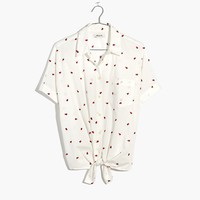 Embroidered Short-Sleeve Tie-Front Shirt in Fresh Strawberries