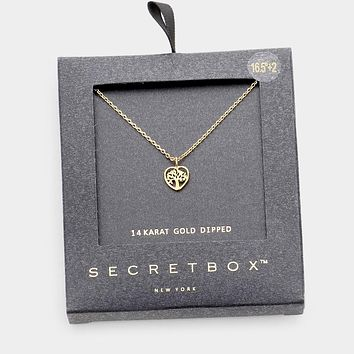 Secret Box _ 14k Gold Dipped Tree Of Life Metal Heart Pendant Necklace