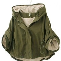 Military Cape Coat with Fleece Lining and Hood