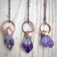 Amethyst Pendant | Copper Crystal Pendant | Purple Crystal Necklace | Electroformed Crystal Pendant