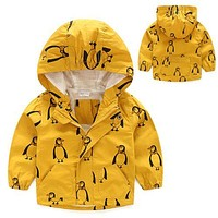 Kids Boys Children Stormbeak Waterproof Hooded Jacket Kid Cute Cartoon Penguin Rain Coat Windbreaker Hoodies Clothes