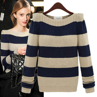 Stripe Bateau-Neck Knitted Sweater